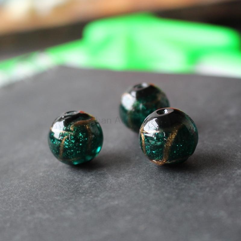 Стеклянные бусины ручной работы, 10 шт./лот, 12 мм, 14 мм, с золотистой линией, окрашенные, светло зеленого цвета для изготовления ювелирных изделий