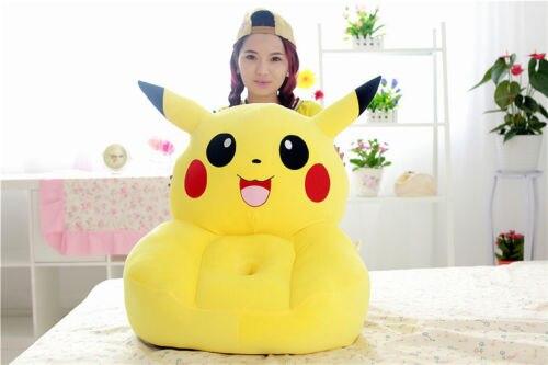 Sofá de pikachu amarillo relleno de dibujos animados, diseño de pikachu, asiento tatami de aproximadamente 50x45cm s1960