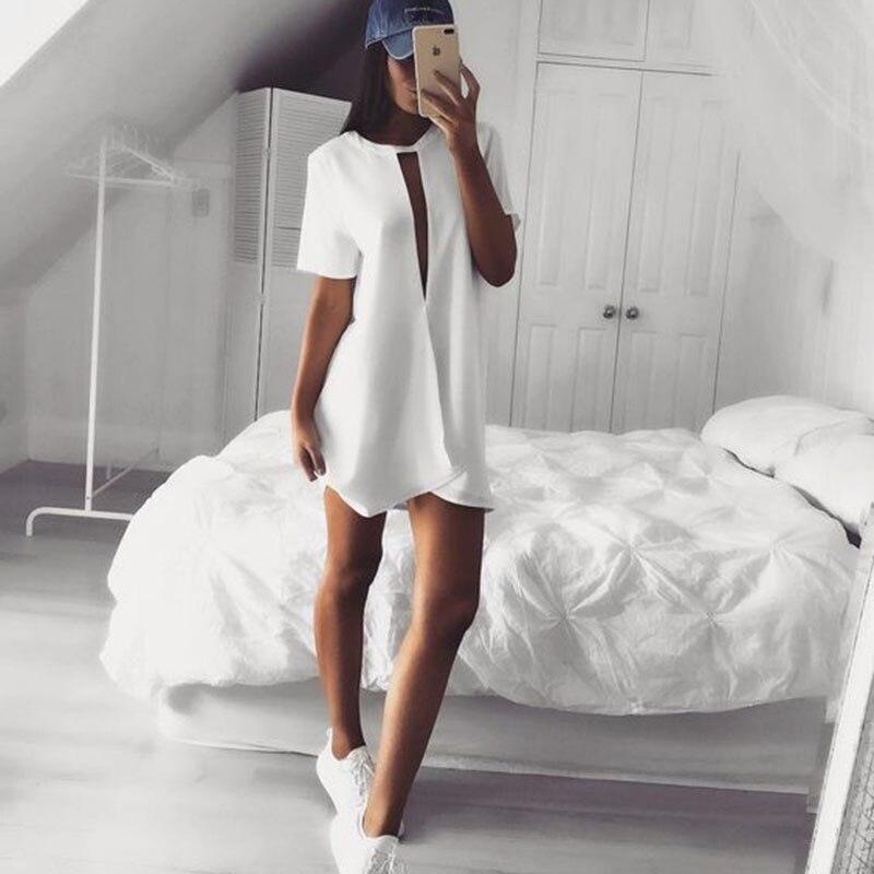 Hollow out Sexy white chiffon dress women Summer 2017 short sleeve deep v neck beach party dresses Casual loose mini short dress