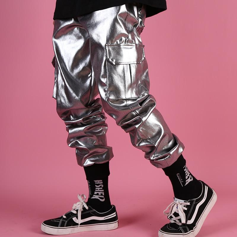 عارضة الجلود الحريم بانت الذكور الشارع الشهير الهيب هوب فاسق الفضة متعددة جيب البضائع بنطلون المرحلة الملابس DJ المغني بانت الرجال