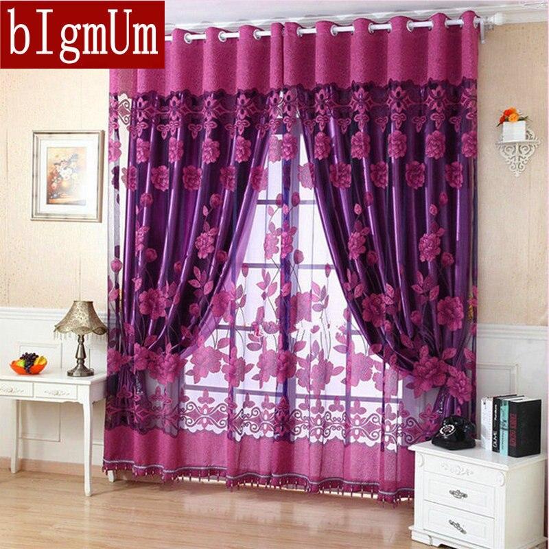 Darmowa wysyłka gotowy wykonane luksusowe zasłony do salonu/sypialnia Tulle + 100% Blackout zasłony fioletowy brązowy dokonywanie Online sklep