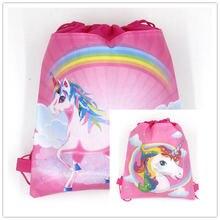 1pcs Unicorn Theme Fashion Portable Drawstring Bag Boy Girl Cotton Travel Pouch Storage Clothes Shoe