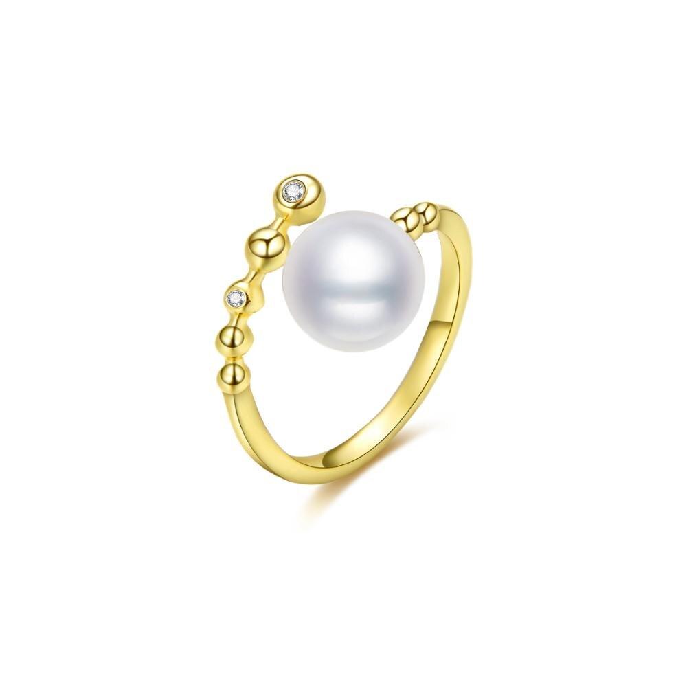 Singreal moda jóias ajustável cor de ouro oyster pérola anel aberto para mulheres jóias finas casal presente