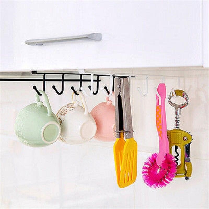 Кухонный шкаф под полкой, 6 крючков, подставка для чашки кружки, кухонный железный подвесной стеллаж для хранения, шкаф-органайзер, крючки для спальни, шкаф