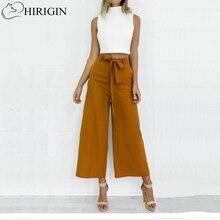 HIRIGIN femmes Orange jambe large pantalon en mousseline de soie taille haute cravate taille pantalon Palazzo OL pantalon Culottes longues pantalon Long