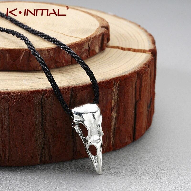 Kinitial vintage corvo crânio gargantilhas colares 3d animal pássaro crânio pingente colar bronze viking runas jóias para homem bijoux