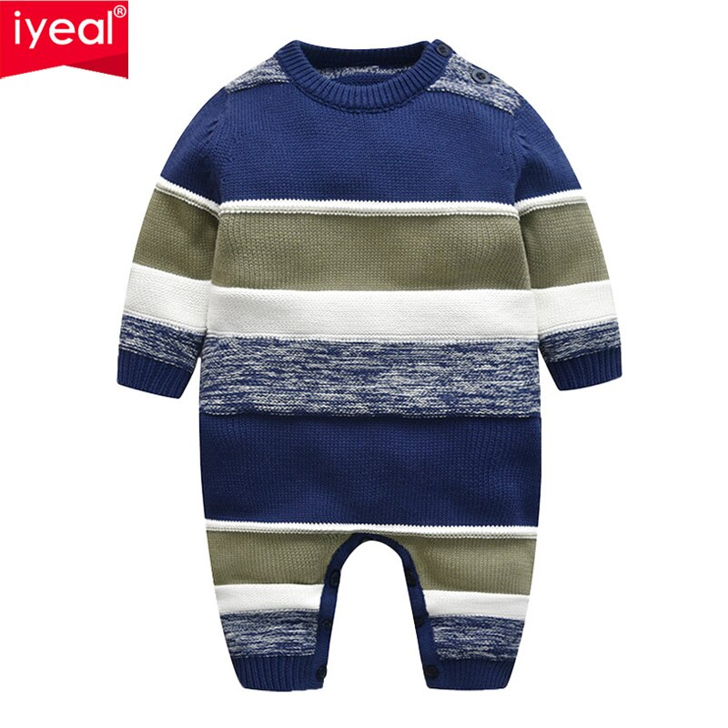 IYEAL Toddler Infant Newborn Baby Romper Long Sleeve Striped Knitted Sweaters for Children Baby Boy Clothes 3-18 Months autumn winter chidlren sweaters for newborn baby girls cardigans fashion white long sleeve toddler infant knitted jacket clothes