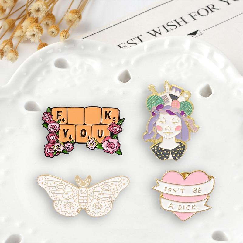 Эмалированная заколка в виде розовых цветов, цветов, клавиатуры, ленты, сердца, лацканов, булавок, броши, значки в форме животных, Значки для ...