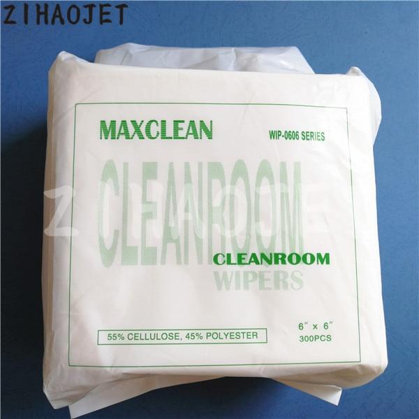 55% celulosa y 45% escobilla de poliéster Sala Blanca 6X6'' para Seiko 510 1020 Epson DX5 DX7 Konica 512 cabeza Maxclean kit 300 Uds