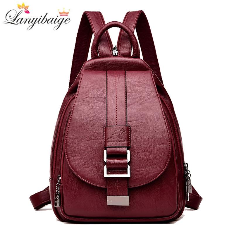 شتاء 2021 المرأة حقيبة ظهر مصنوعة من الجلد موضة حقائب كتف الإناث على ظهره السيدات حقيبة السفر Mochilas الحقائب المدرسية للفتيات