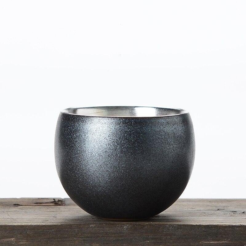 100ml Estilo Vintage cerámica taza de té pura plata pequeños tazones de té kungfú chino juego de té Puer tazas de colección