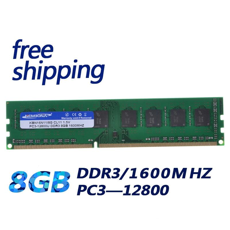 Kembona desktop ddr3 1600 mhz ddr3 8 gb novo trabalho de memória ram desktop para toda a placa-mãe