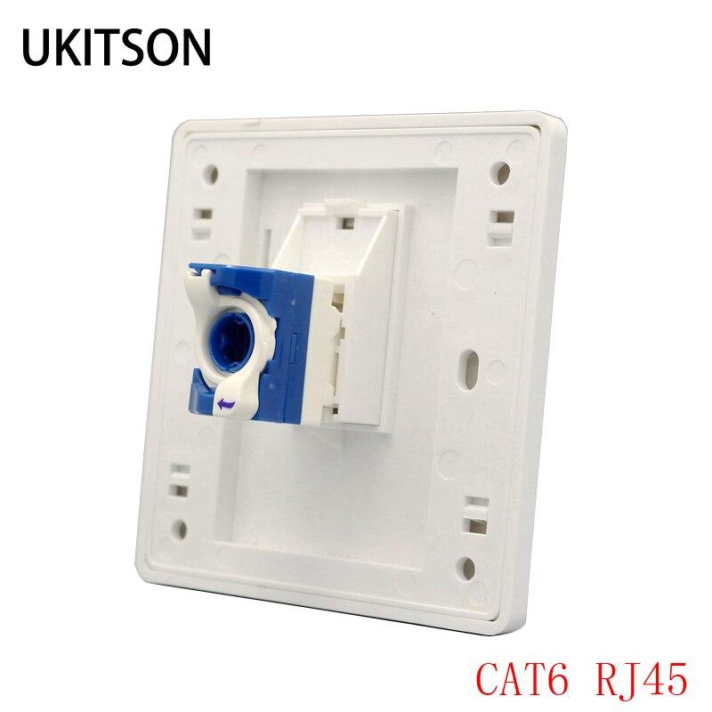 Conector de ordenador Cat 6 RJ45, 1 puerto, placa frontal de pared, conexión de cable giratorio