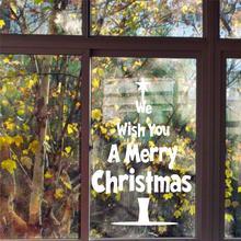 Мы желаем вам счастливого Рождества наклейки на стену дерево цитаты окна стеклянная комната украшения винил Рождество Gif