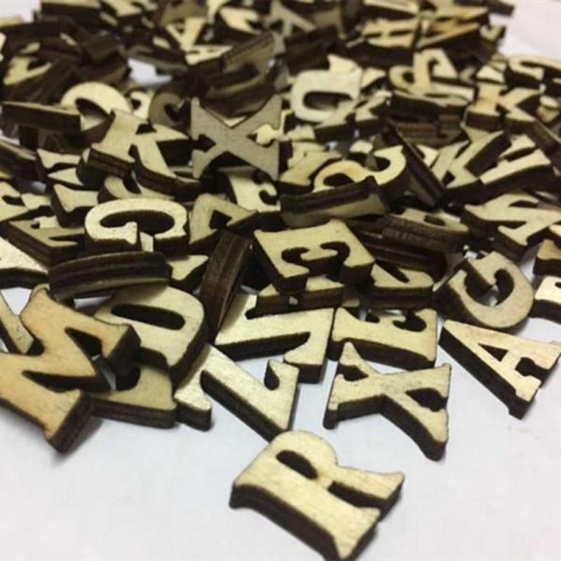 Lote de 100 unidades de letras rústicas de madera para bodas, fiestas, festivales, decoración de dispersión para mesa, artesanías para niños, Educación Temprana
