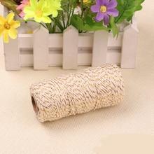 Ficelle blanc et or 8 plis 1.5MM-2MM   Ficelle de boulanger 200 mètres ficelle demballage de cadeau pour artisanat cordon de ficelle en tissu