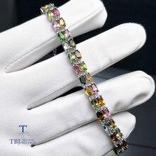 TBJ,9.5ct натуральный необычный цветной турмалиновый браслет из стерлингового серебра 925 пробы с подарочной коробкой, простые драгоценные камни ювелирные изделия для женщин