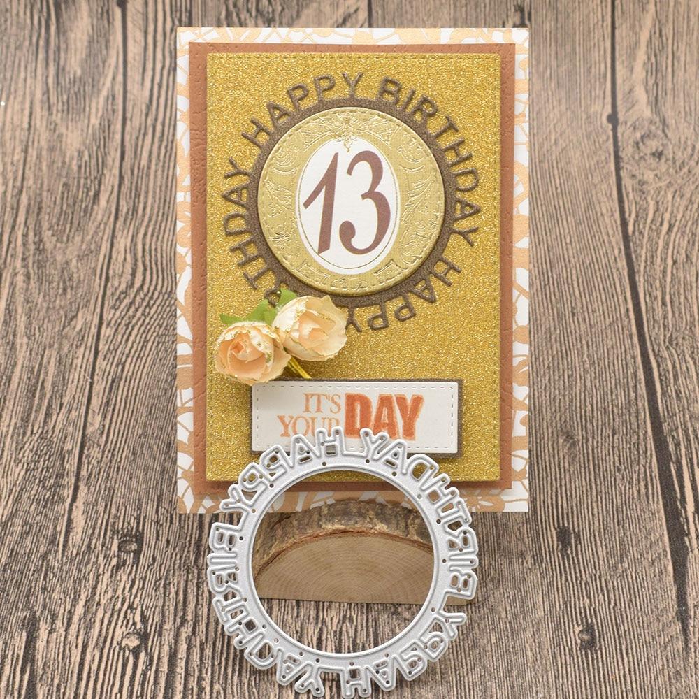 Letras de feliz cumpleaños círculo Metal troqueles palabras para álbum de recortes cumpleaños confección de tarjetas de papel grabado troquelado