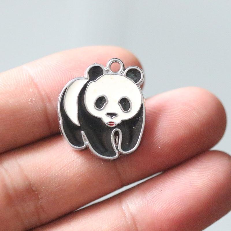 5pcs Charm Enamel Panda YIN YANG National Flag Santa Claus Christmas Bear Vintage Pendants Charms for Jewelry Making Necklace