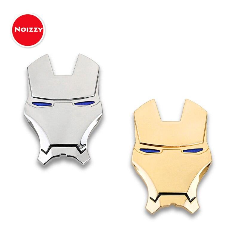 Noizzy Ironman Cartoon Stark Car Auto Sticker Badge Emblem 100% 3D Metal Chrome Gold Automobile Motorcycle Tuning Car Styling