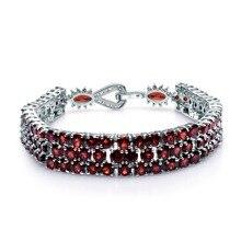 Bracelet GEMS BALLET 925 en argent Sterling et Bracelets pour femmes bijoux fins 30.80Ct naturel rouge grenat Bracelet de pierres précieuses véritable