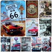 Nuevo Vintage 66 Route Moto placas de Metal hogar Bar decoración cartel de hojalata Vintage Pub Vintage placas decorativas Metal arte de pared