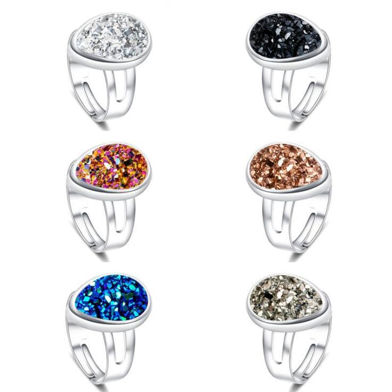Gota de agua de plata oro Druzy drusa anillo de resina Negro Azul drusa ajustable fiesta amor amistad anillo joyería de las mujeres