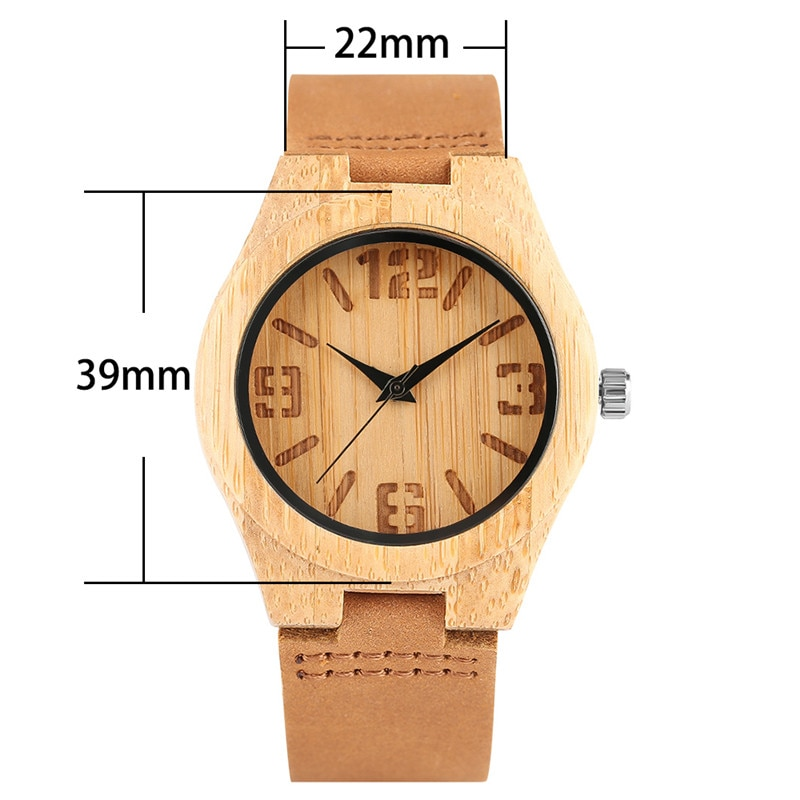 Minimalist Ladies Wood Watch Light-weight Bamboo Case Large Number Leather Bracelet Casual Women Wooden Wristwatch Fashion Clock enlarge