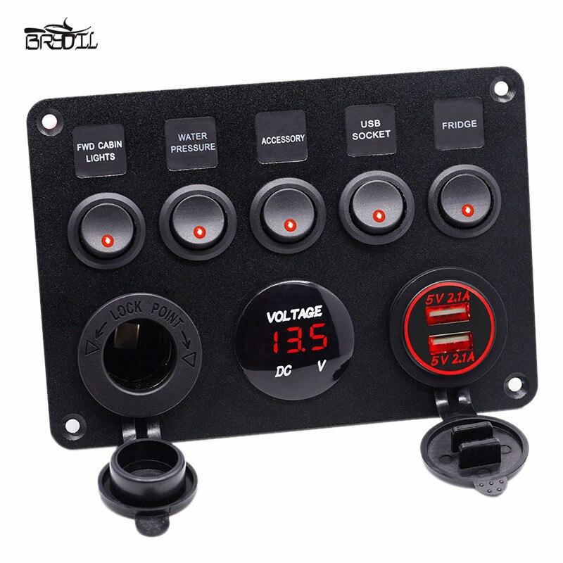 Interruptor de Control de palanca de carga Dual USB 5 Gang On-Off Panel LED rojo voltímetro disyuntor para 12 V-24 V coche barco marino