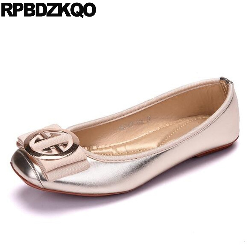 Baleriny kwadratowe Toe Walking mokasyny metalowe buty w dużych rozmiarach kobiety projektant składane mieszkania baletowe 10 szerokie dopasowanie złota wiosna