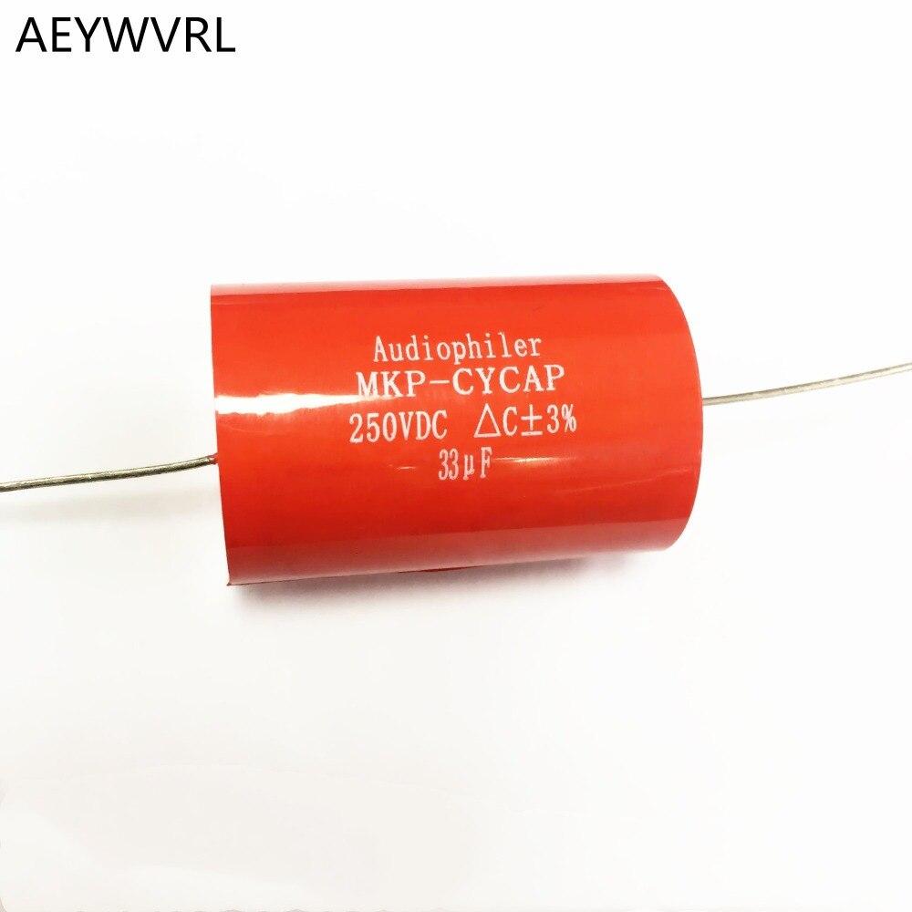 2 uds 33UF 250VDC DIY HIFI audio grado Axial MKP condensador para amplificadores de guitarra