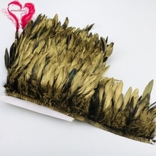 1 mètre de largeur 6-8 pouces belle teinte coq doré coq Schlappen plume ruban garniture guipure dentelle robe jupe décoration