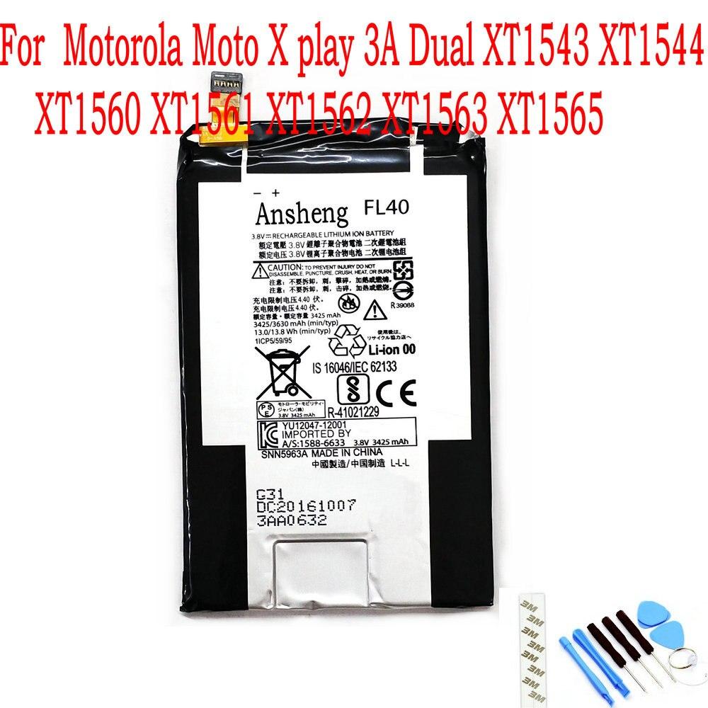 Batería FL40 Original de 3630mAh para Motorola Moto X play 3A Dual XT1543 XT1544 XT1560 XT1561 XT1562 XT1563 XT1565, nuevo de 100%