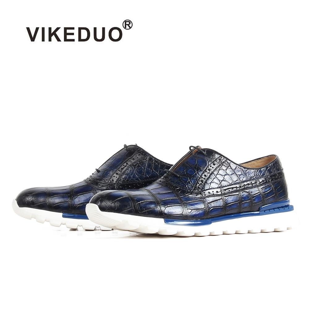 Кроссовки VIKEDUO 2020 из кожи крокодила патина Мужская обувь ручной работы синяя повседневная спортивная мужская обувь на резиновой подошве Ро...