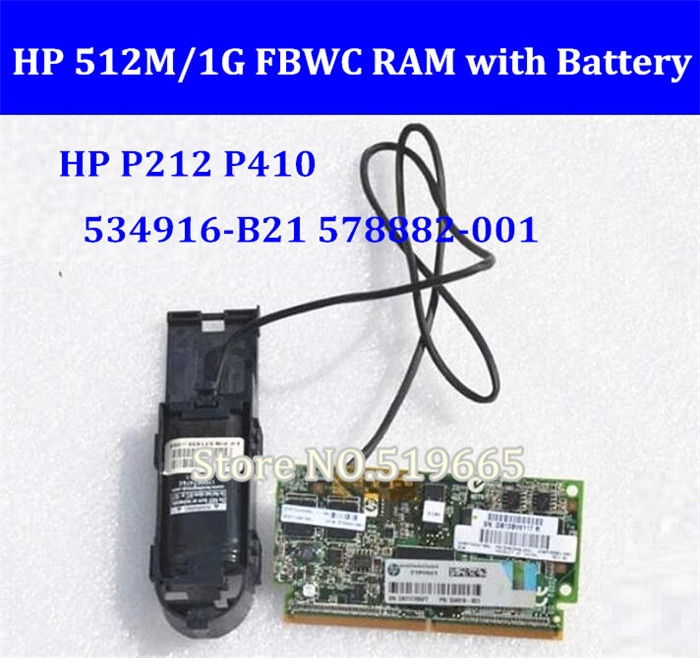 Para HP P212 P410 tarjeta Raid 512 M/1G FBWC memoria RAM con batería 534916-B21 578882-001 571436-002