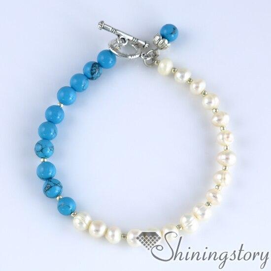 Meninas pulseira de pérolas pulseira de alternância pulseiras boho bohemian online jóias branco pérola de água doce jóias