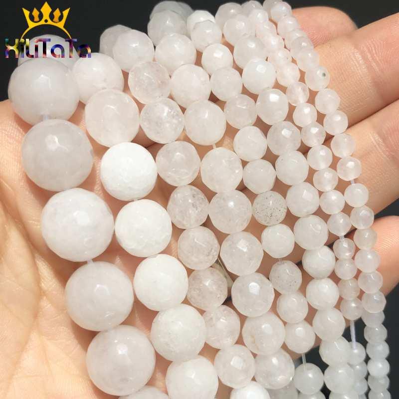 """Cuentas sueltas blancas facetadas de piedra Natural para hacer joyería DIY pendientes pulsera collar ACCESORIOS 4/6/ 8/10/12mm 15"""""""