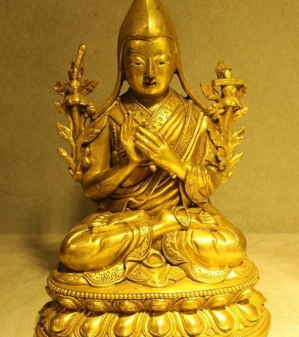 "7"" Tibet Buddhism Old Bronze Gilt 24K Gold Je Tsongkhapa Tsong-Kha-Pa Buddha"