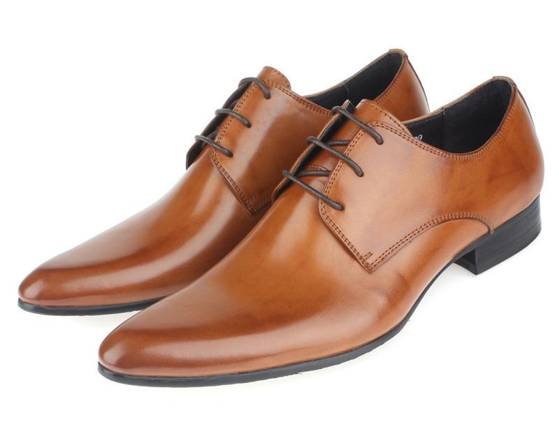 تخفيضات كبيرة! حذاء بني اجتماعي حذاء رجالي لحفلات الزفاف من الجلد الأصلي حذاء رجالي للعمل