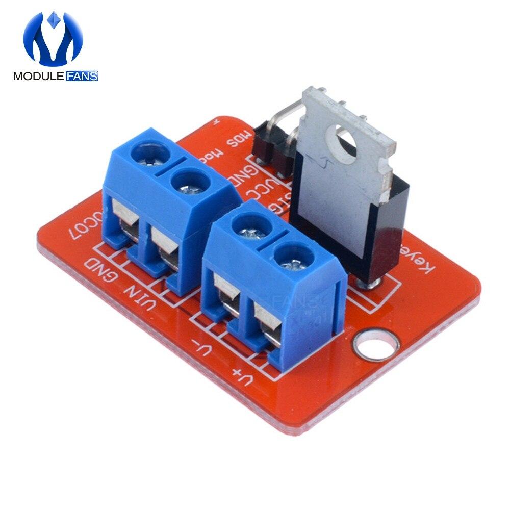 5 uds Top Mosfet botón IRF520 módulo de controlador Mosfet para Arduino MCU brazo Raspberry Pi 3,3 v-5 V IRF520 potencia MOS PWM atenuación LED