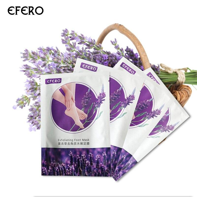 Efero 2pcs=1pair Lavender Foot Mask Remove Dead Skin Exfoliating Socks Pedicure Socks Baby Feet Masks Heel Foot Care Mask TSLM1
