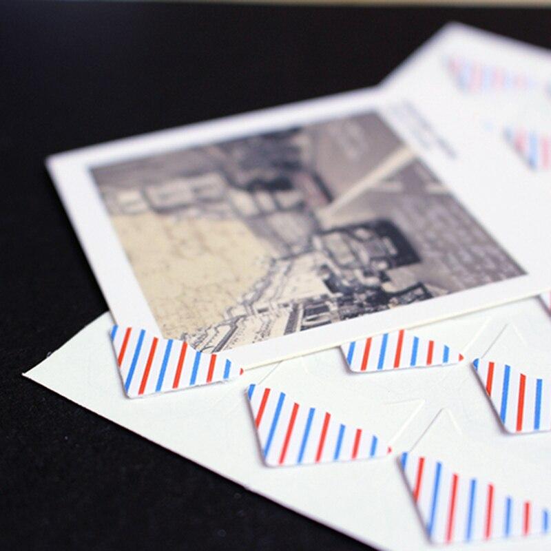 24 pçs/lote diy retro xadrez listras canto papel adesivos para álbum de fotos montagem handwork quadro álbuns decoração scrapbooking