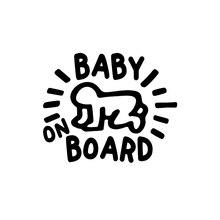 Adhesivos de vinilo de 12x14cm para bebé a bordo, adhesivos para ventana de coche, impermeable para bebé Keith Haring, nuevo TA124