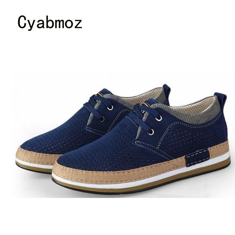 Cyabmoz-حذاء رفع من جلد الغزال للرجال ، حذاء منصة مسامي مع أربطة ، ارتفاع 6 سنتيمتر