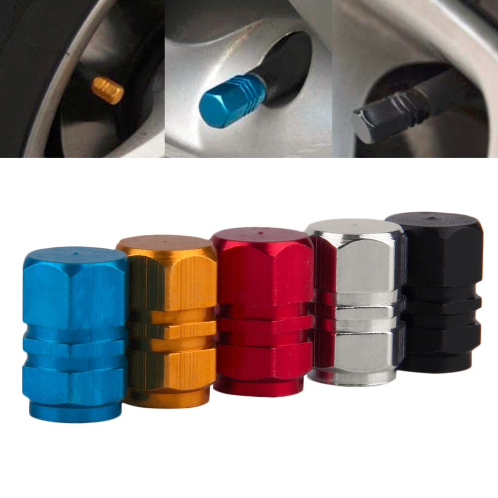 Universal 4 pçs/set auto bicicleta carro tampas de válvula pneu roda de alumínio hexagonal ventile ar hastes cobertura hermético jantes 5 cores