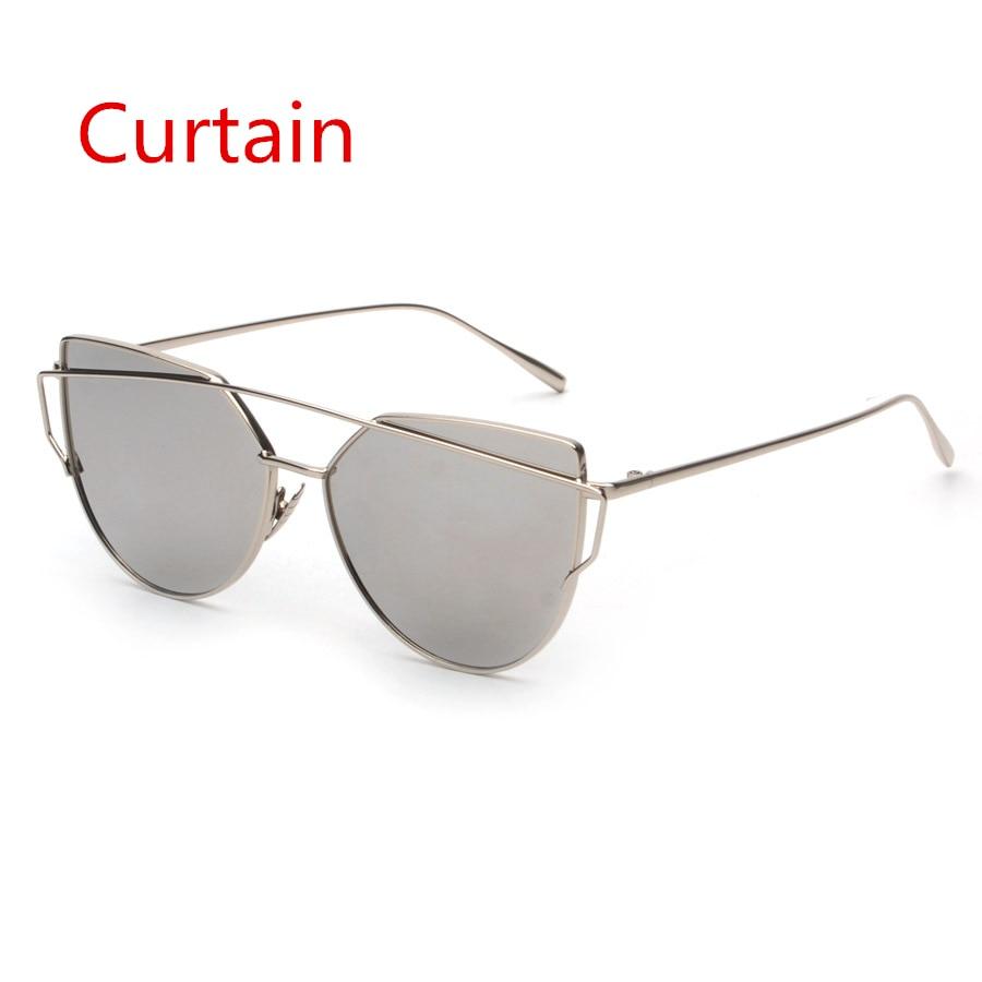 2019 Fashion Cat Eye Sunglasses Women Brand Designer Flat Top Mirror Metal Frame Sun Glasses for Wom