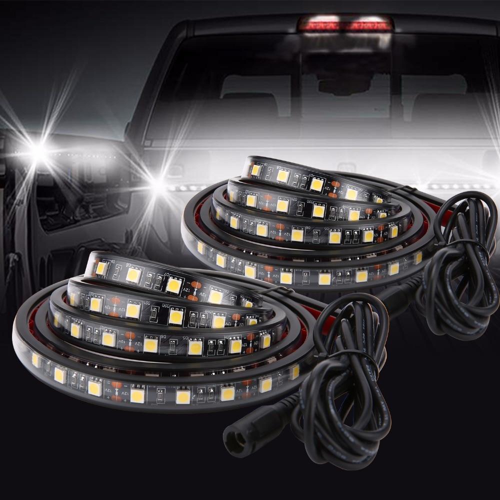 """2 PCS 60 """"Cama Do Caminhão LEVOU Faixa de Luz Branca À Prova D Água Bar Iluminação Kit com On-Off Interruptor Fusível 2-Way Splitter Cabo de Carga Jeep"""