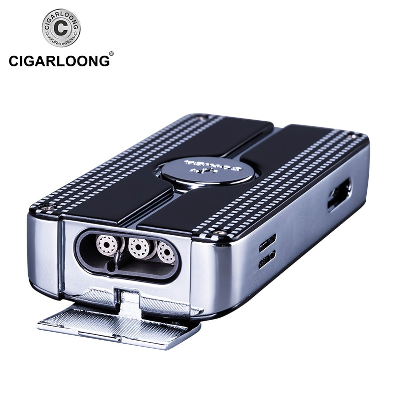 COHIBA Metal Cigar Lighter Windproof 3 Blue Jet Flame Cigarette Torch Lighters Butane Gas Lighter Refillable With Punch