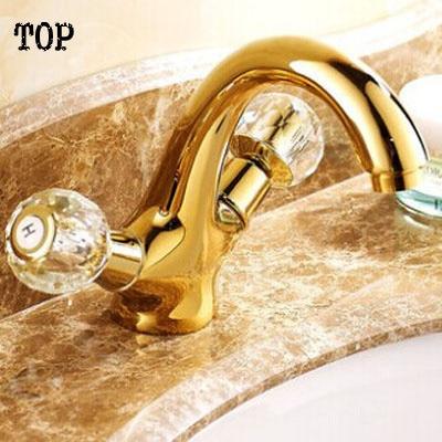 Dupla alça de cristal bacia do banheiro torneira da pia água torneira bronze antigo lavatório curto