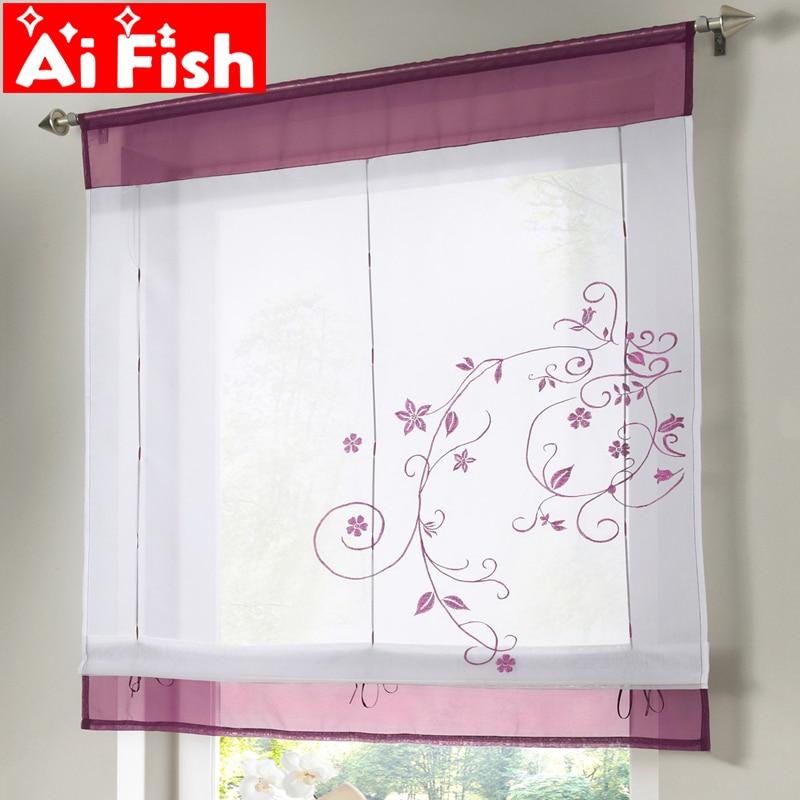Cortina para janela floral romana, cortina bordada simples para sala de estar, cobertura sólida de tule para cozinha DL001-30